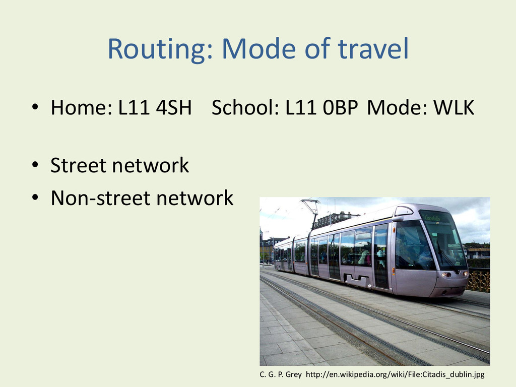 Routing: Mode of travel • Home: L11 4SH School:...