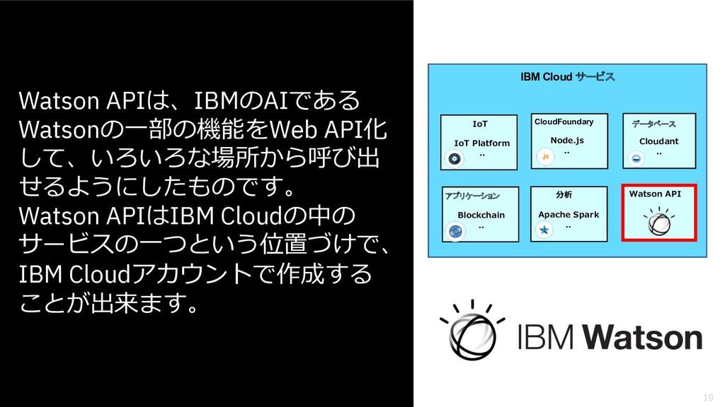 19 Watson APIは、IBMのAIである Watsonの⼀部の機能をWeb API化 ...