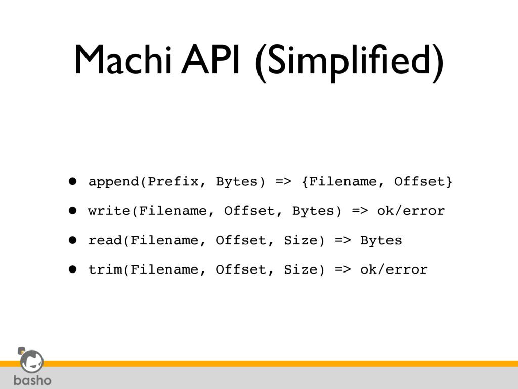 Machi API (Simplified) • append(Prefix, Bytes) =...