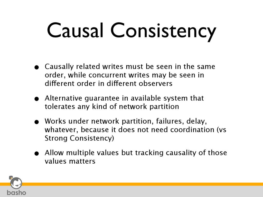 Causal Consistency • Causally related writes mu...