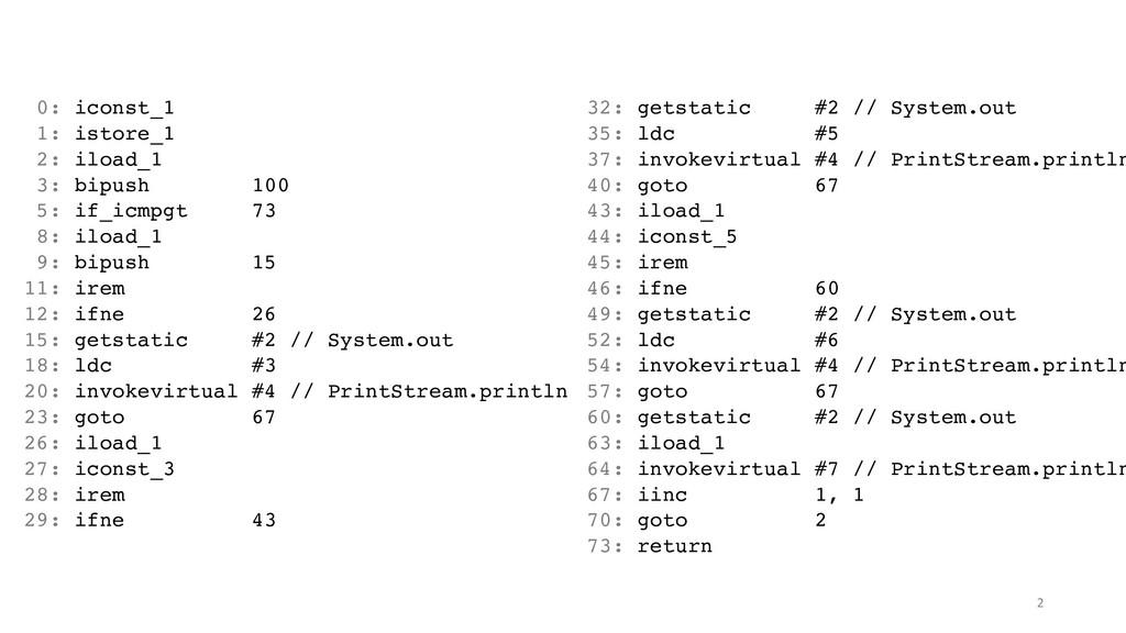 0: iconst_1 1: istore_1 2: iload_1 3: bipush 10...