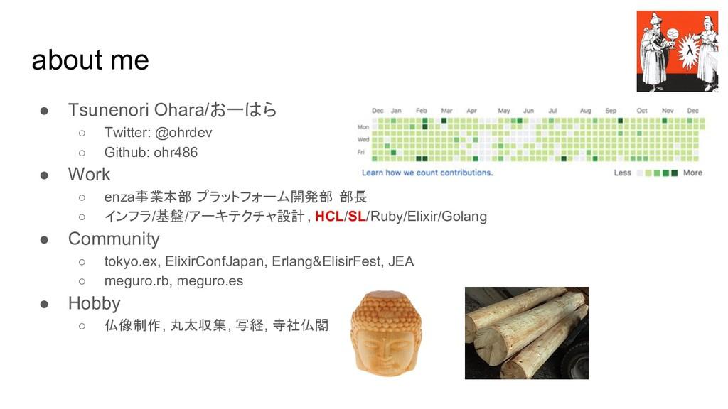 about me ● Tsunenori Ohara/おーはら ○ Twitter: @ohr...