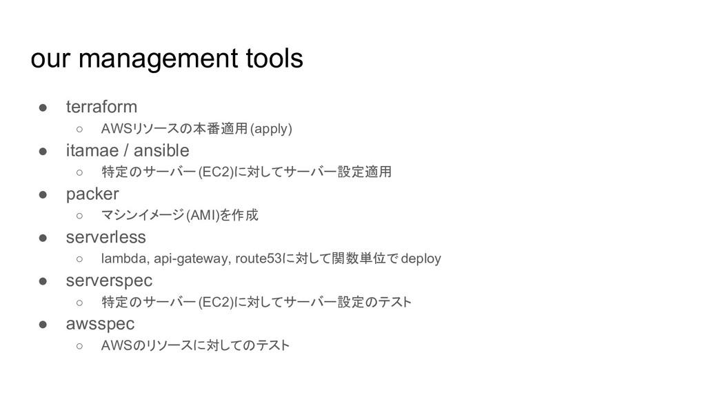 our management tools ● terraform ○ AWSリソースの本番適用...