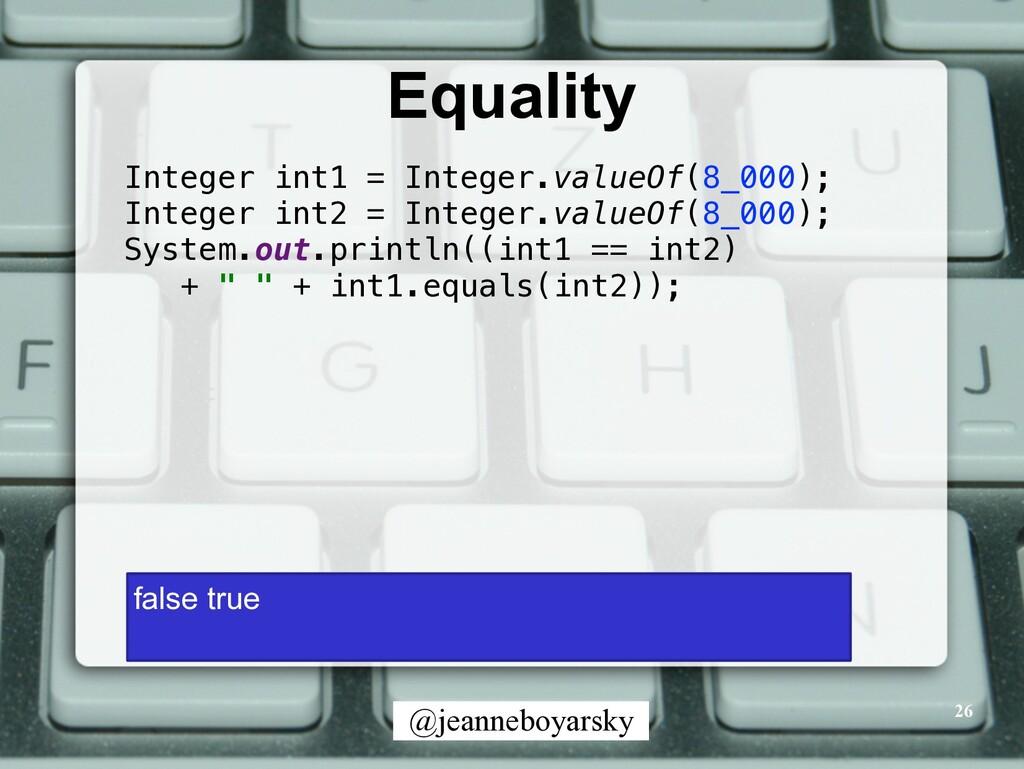 @jeanneboyarsky Equality 26 Integer int1 = Inte...