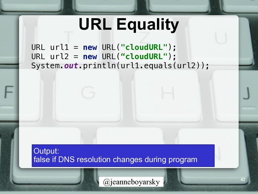 @jeanneboyarsky URL Equality 42 URL url1 = new ...
