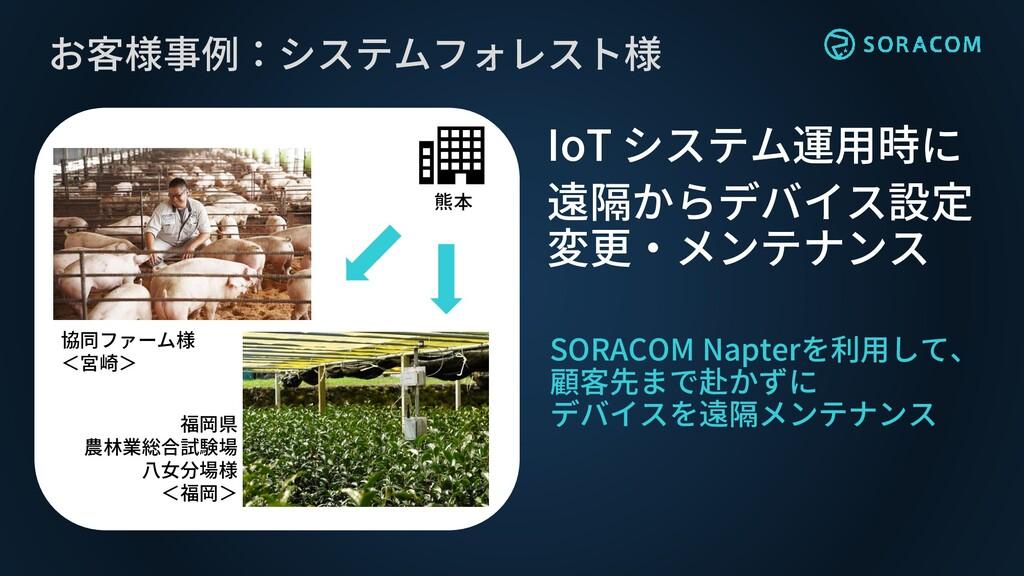 お客様事例:システムフォレスト様 SORACOM Napterを利用して、 顧客先まで赴かずに...