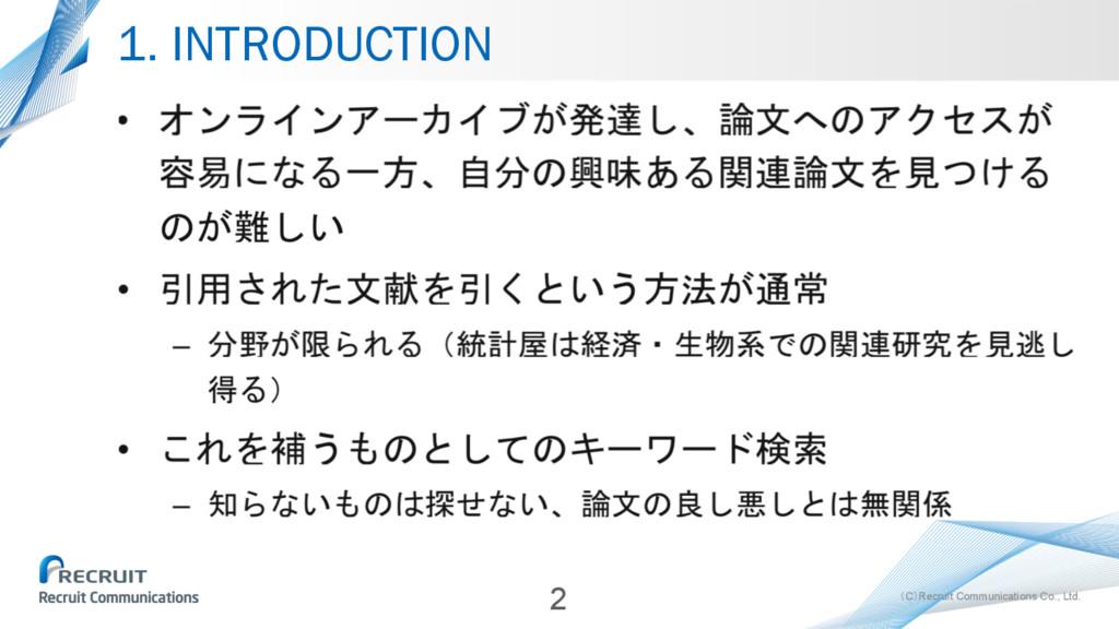 (C)Recruit Communications Co., Ltd. 1. INTRODUC...