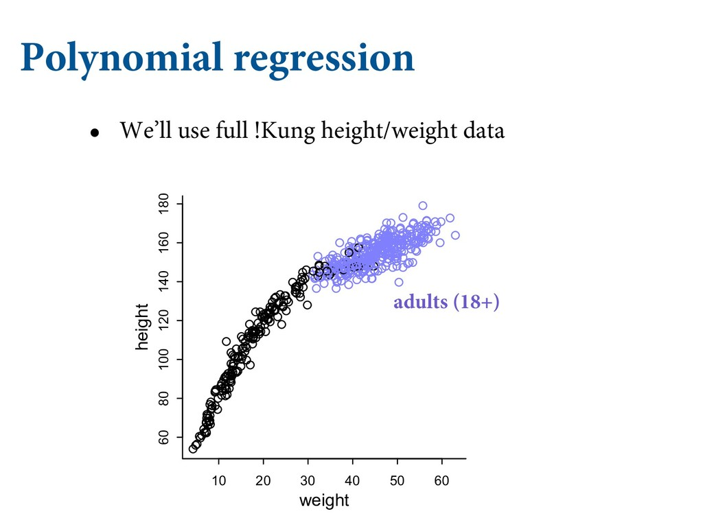 Polynomial regression • We'll use full !Kung he...