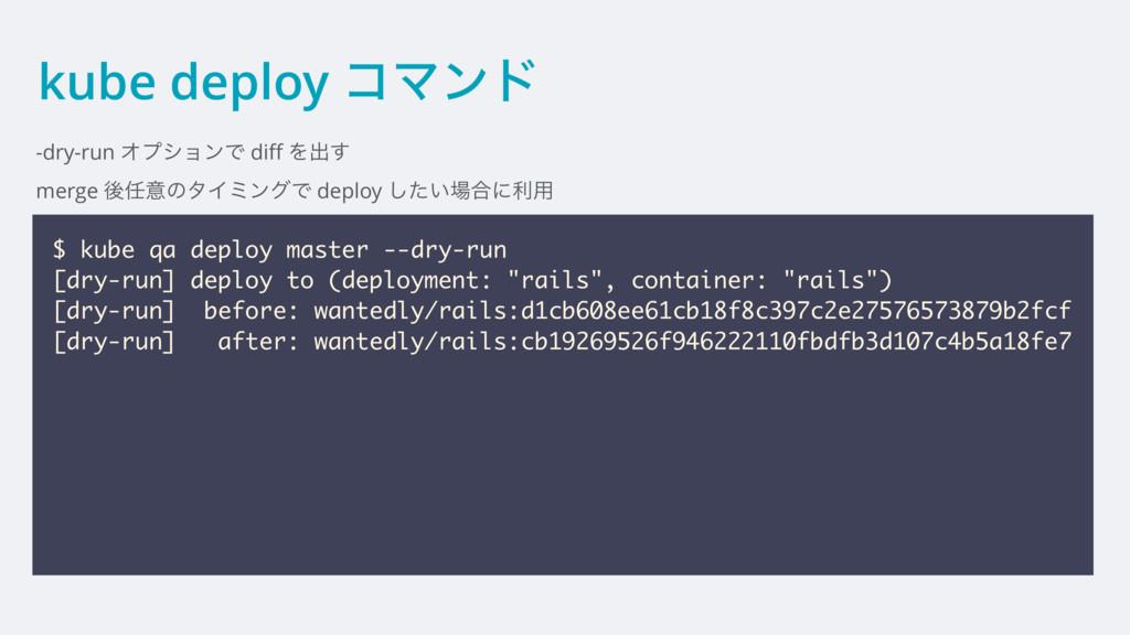 kube deploy ίϚϯυ -dry-run ΦϓγϣϯͰ diff Λग़͢ merge ...