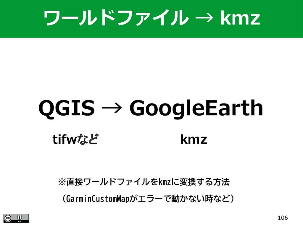 106 QGIS → GoogleEarth tifwなど          kmz ワールド...