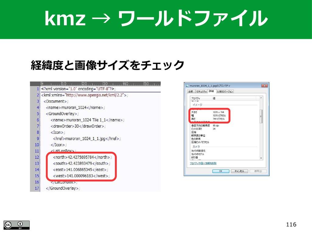 116 経緯度と画像サイズをチェック kmz → ワールドファイル