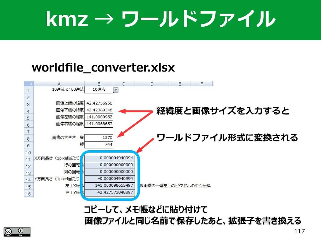 117 worldfile_converter.xlsx 経緯度と画像サイズを入力すると ワー...