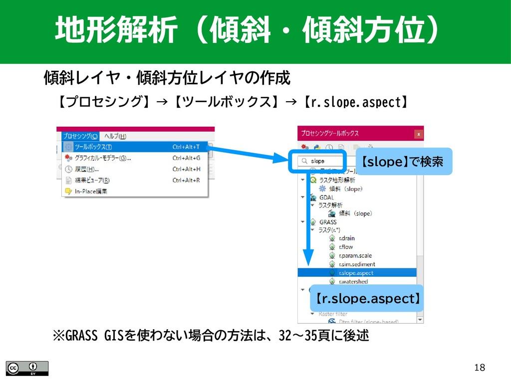 18 【プロセシング】→【ツールボックス】→【r.slope.aspect】 地形解析(傾斜・...