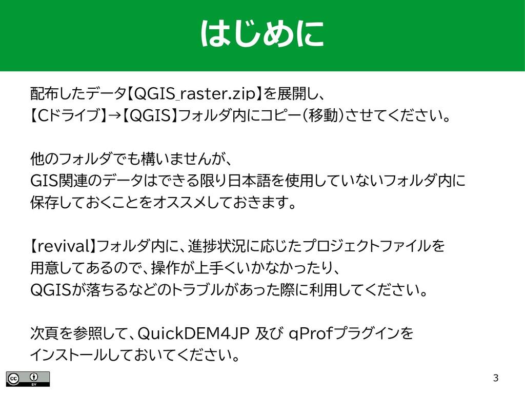3 配布したデータ【QGIS_raster.zip】を展開し、 【Cドライブ】→【QGIS】フ...