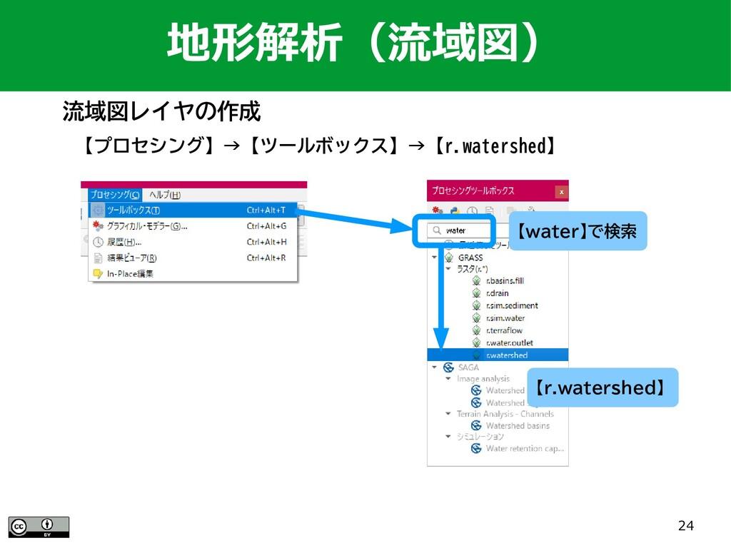 24 【プロセシング】→【ツールボックス】→【r.watershed】 地形解析(流域図) 【...