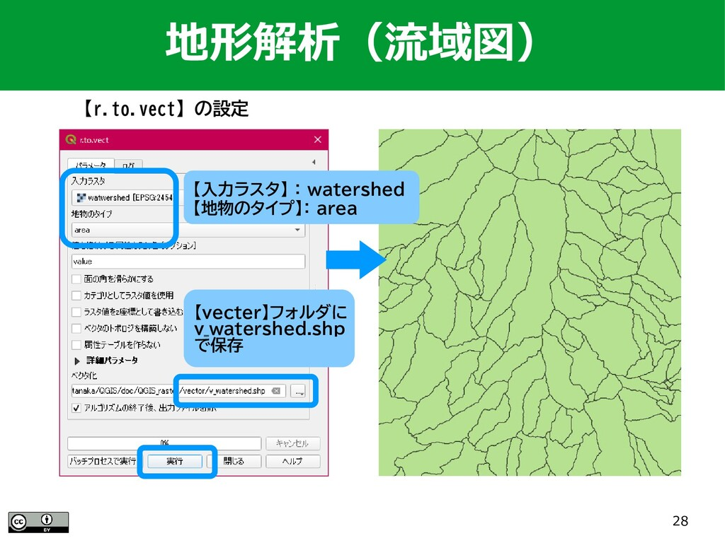 28 【r.to.vect】の設定 地形解析(流域図) 【入力ラスタ】 : watershed...