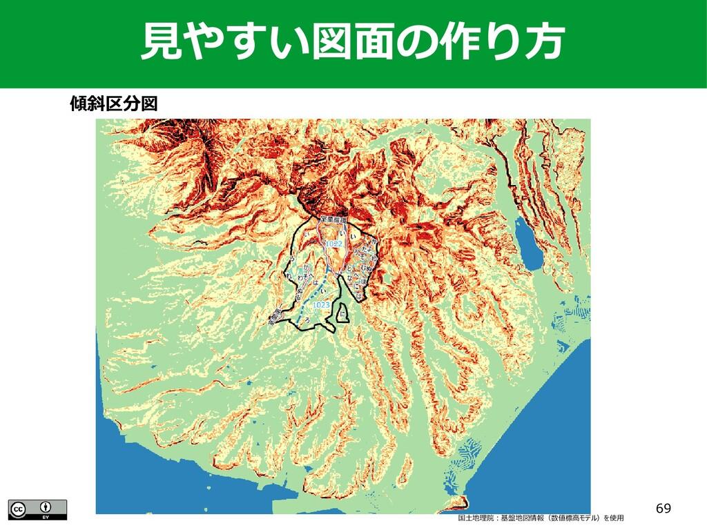 69 傾斜区分図 国土地理院:基盤地図情報(数値標高モデル)を使用 見やすい図面の作り方