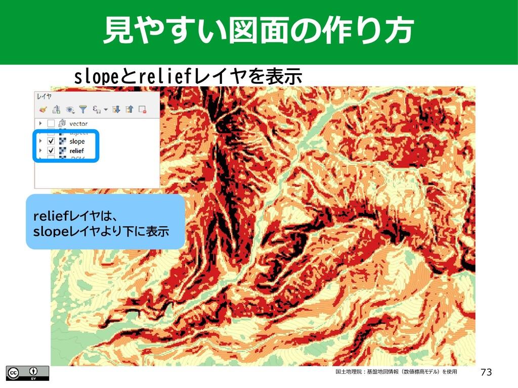 73 slopeとreliefレイヤを表示 国土地理院:基盤地図情報(数値標高モデル)を使用 ...