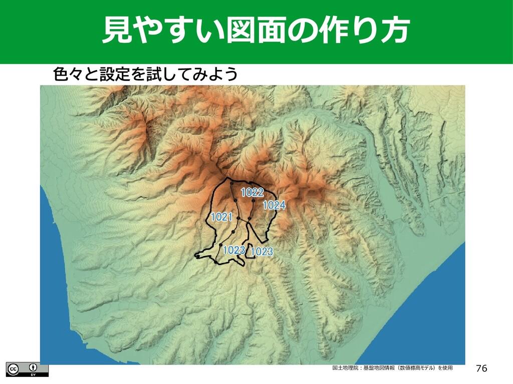 76 国土地理院:基盤地図情報(数値標高モデル)を使用 見やすい図面の作り方 色々と設定を試し...