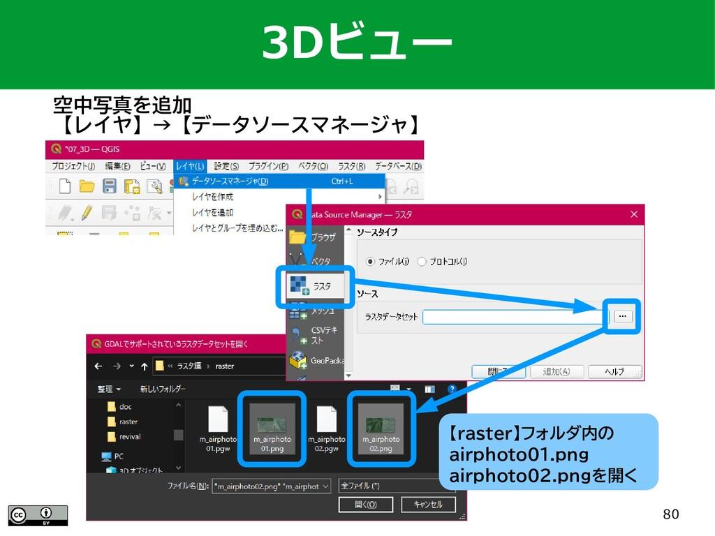 80 3Dビュー 空中写真を追加 【レイヤ】→【データソースマネージャ】 【raster】フォ...