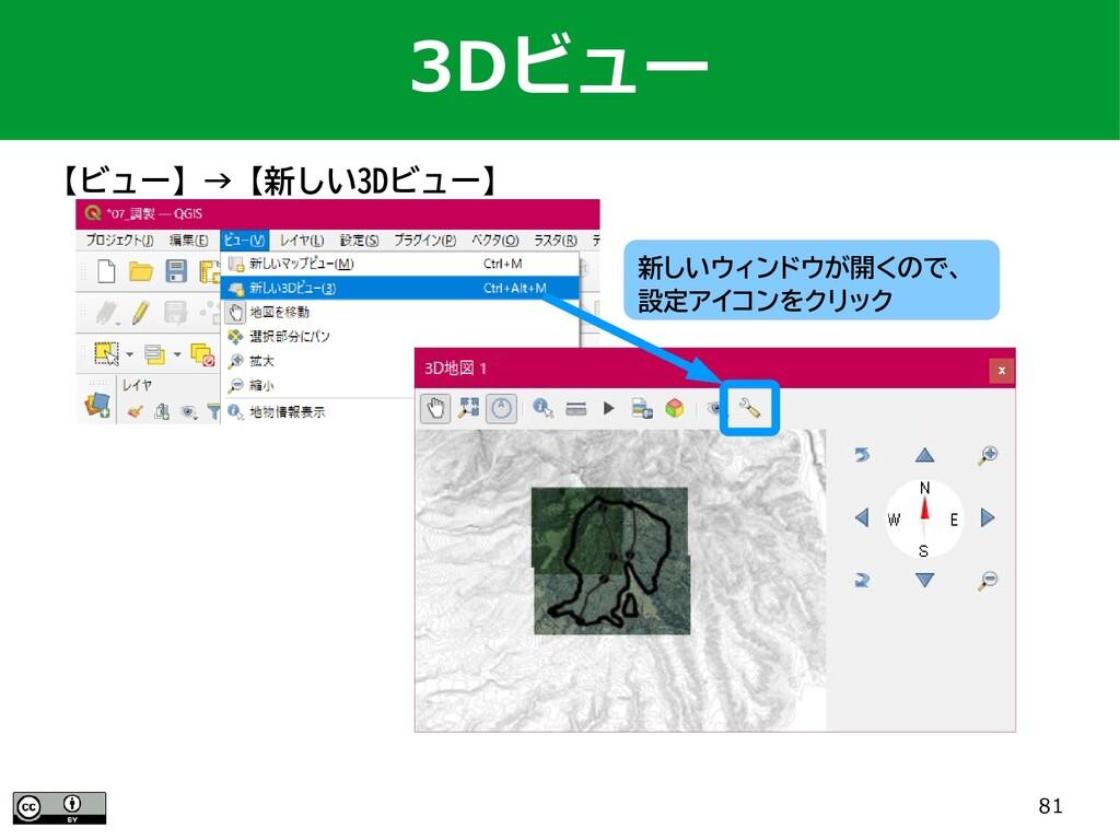 81 3Dビュー 【ビュー】→【新しい3Dビュー】 新しいウィンドウが開くので、 設定アイコン...