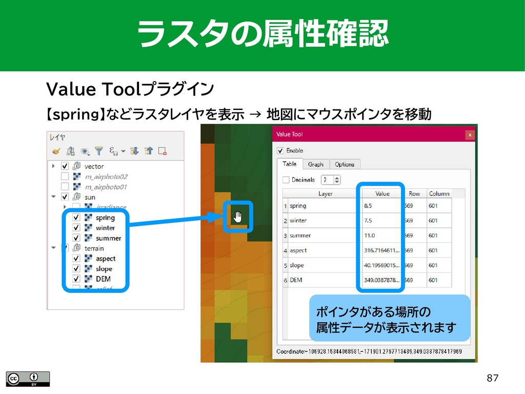87 Value Toolプラグイン ラスタの属性確認 【spring】などラスタレイヤを表示...