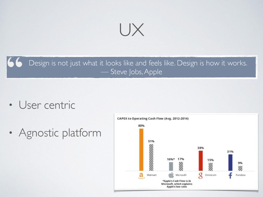 UX • User centric • Agnostic platform Design is...