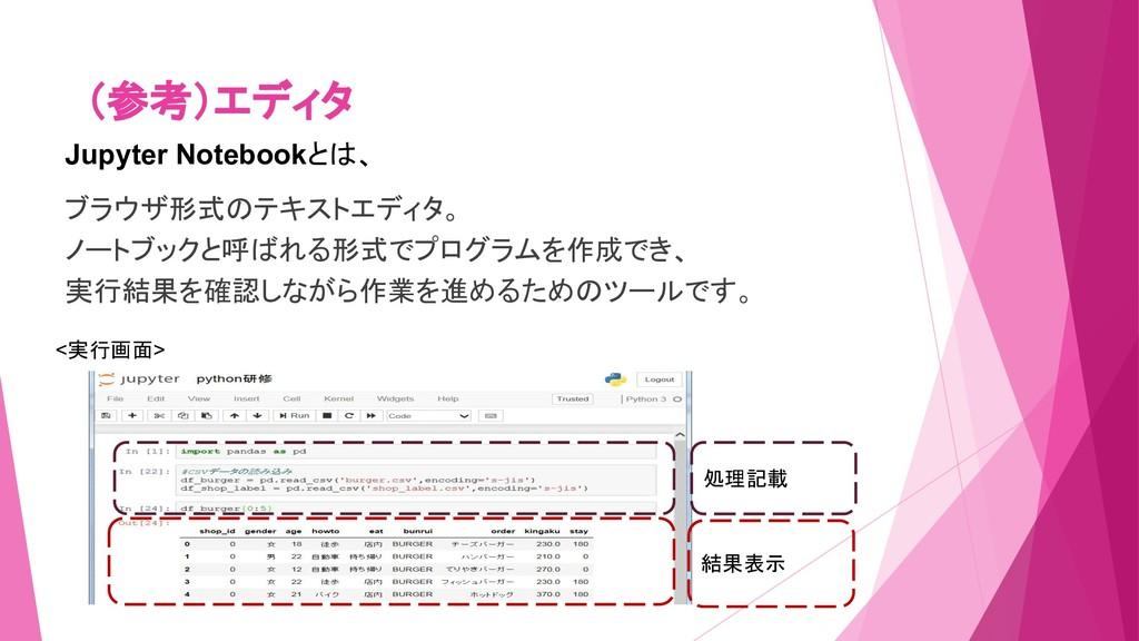 (参考)エディタ Jupyter Notebookとは、 ブラウザ形式のテキストエディタ。 ノ...