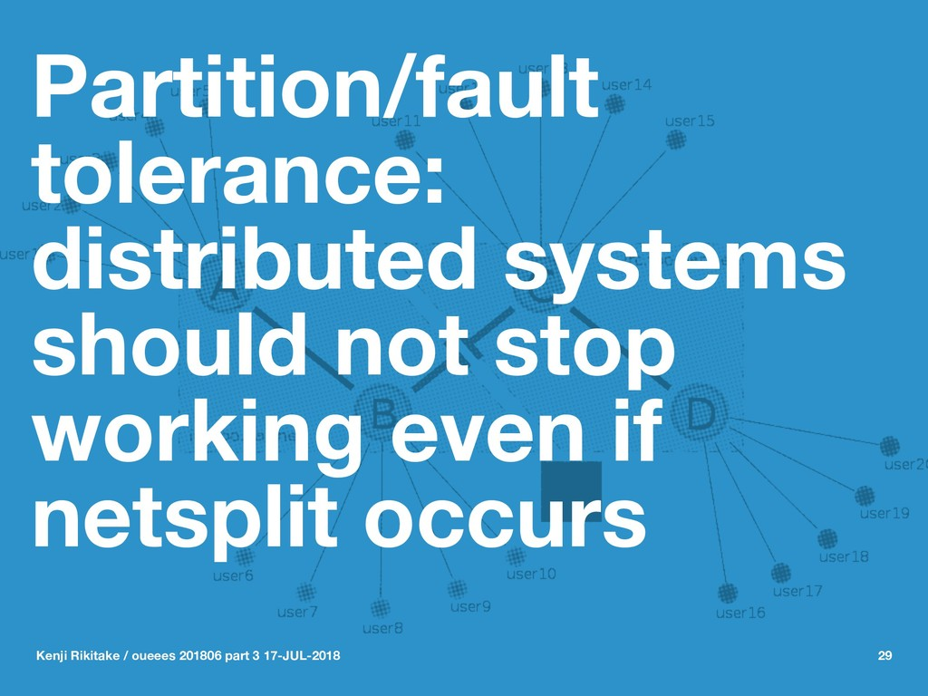 Partition/fault tolerance: distributed systems ...