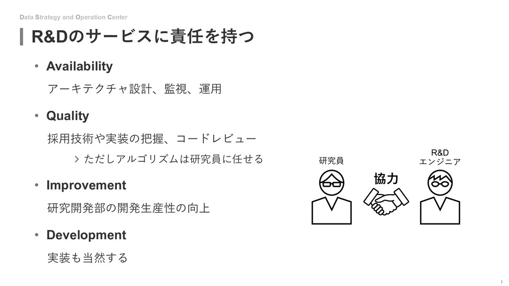 Data Strategy and Operation Center R&Dのサービスに責任を...