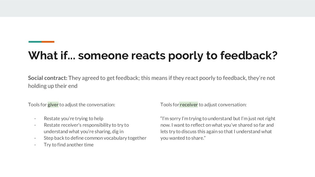 What if... someone reacts poorly to feedback? S...
