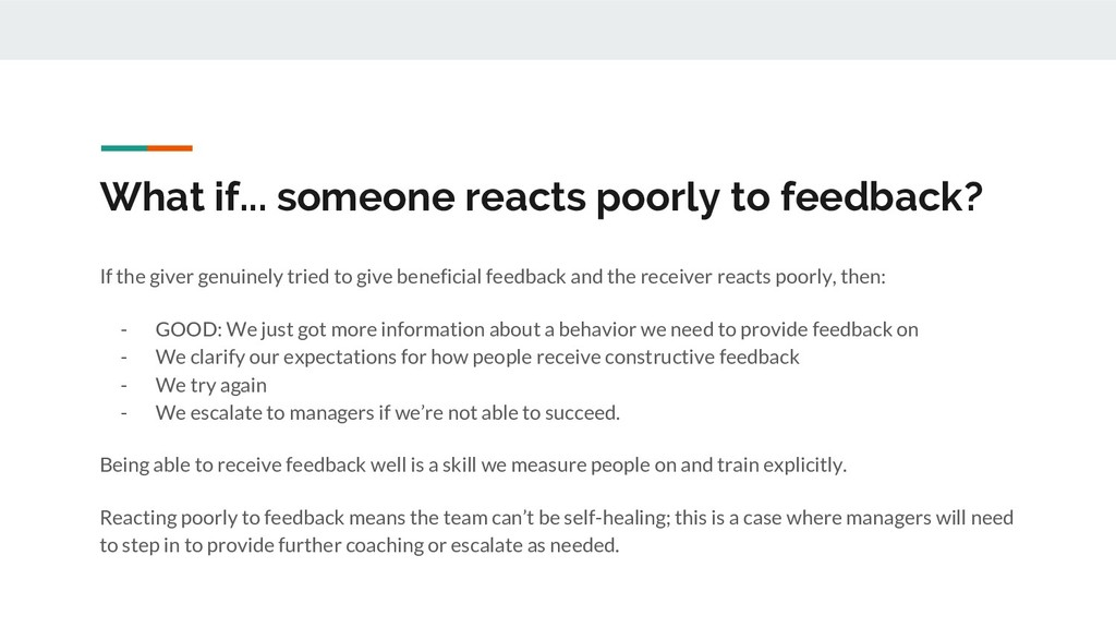 What if... someone reacts poorly to feedback? I...