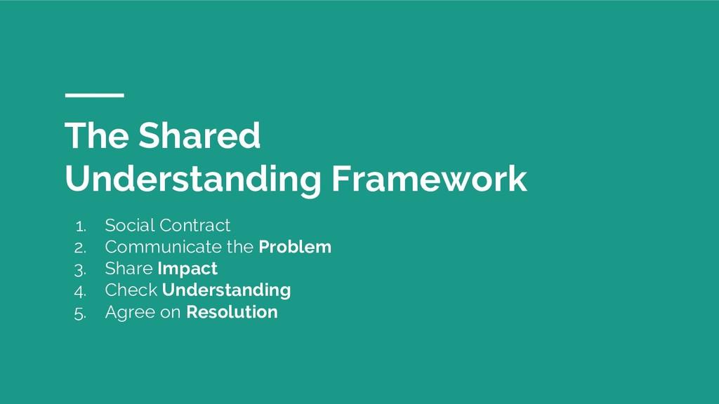 The Shared Understanding Framework 1. Social Co...