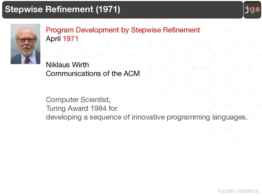 jgs 00000010 Stepwise Refinement (1971) Program...