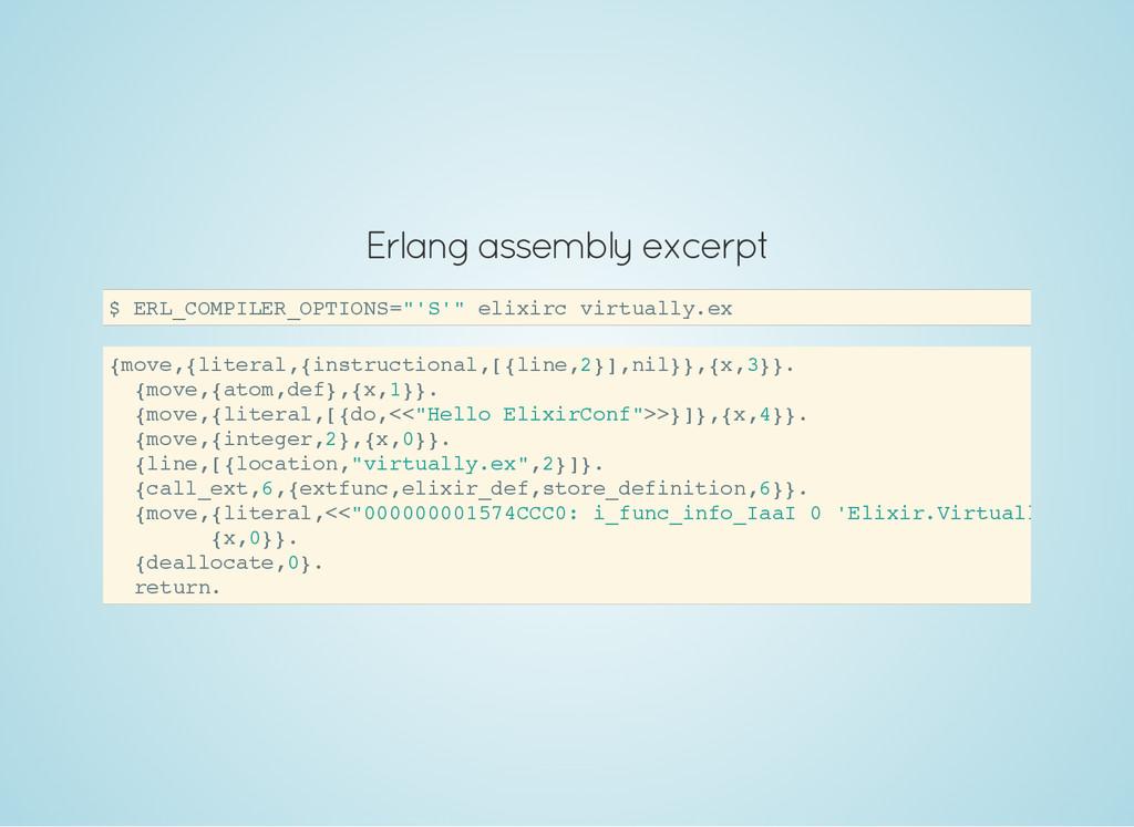 Erlang assembly excerpt $ E R L _ C O M P I L E...