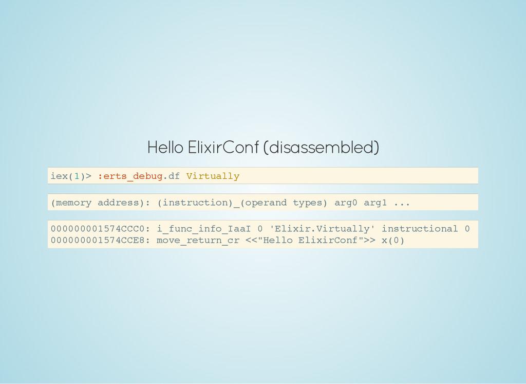 Hello ElixirConf (disassembled) i e x ( 1 ) > :...
