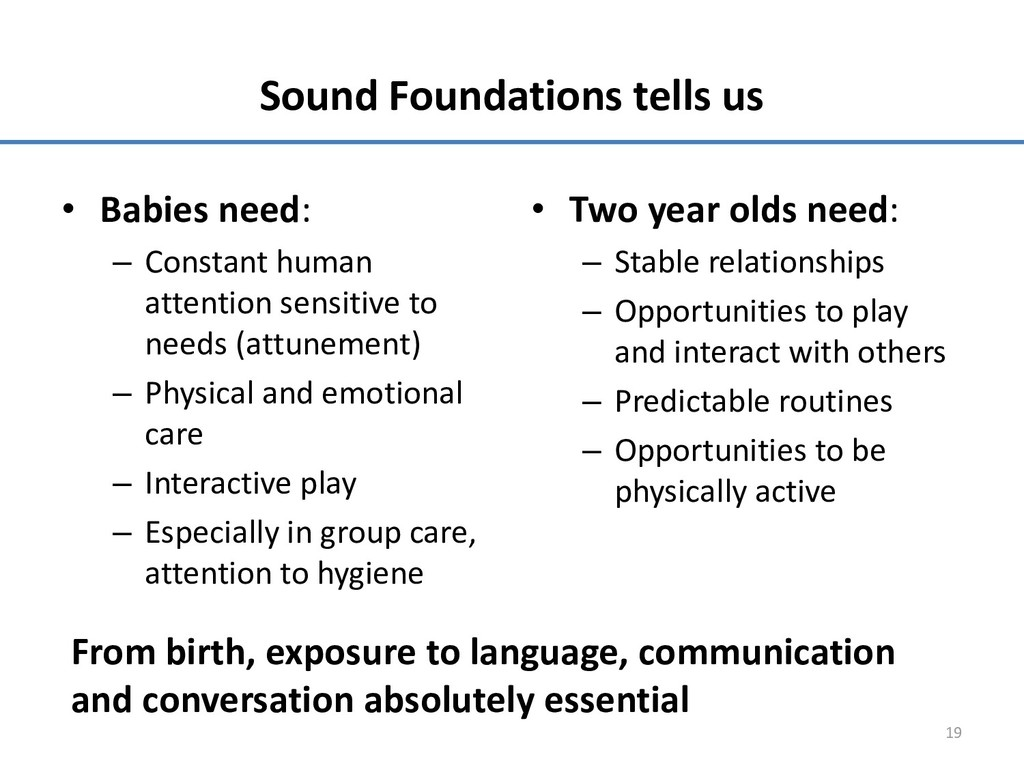 Sound Foundations tells us • Babies need: – Con...