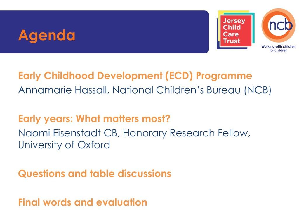 Agenda Early Childhood Development (ECD) Progra...