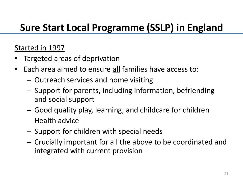 Sure Start Local Programme (SSLP) in England St...