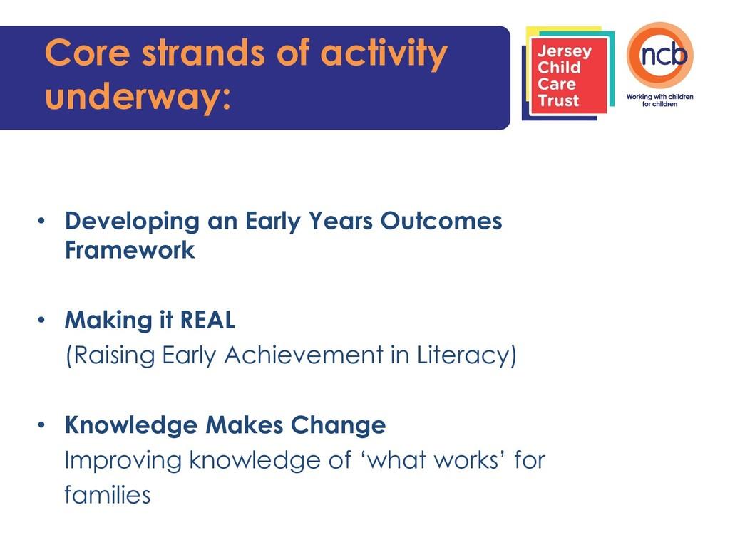 Core strands of activity underway: • Developing...