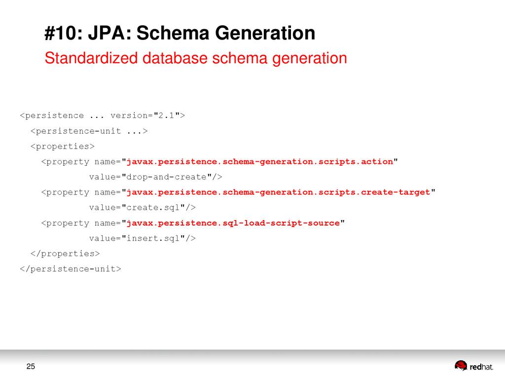25 #10: JPA: Schema Generation Standardized dat...