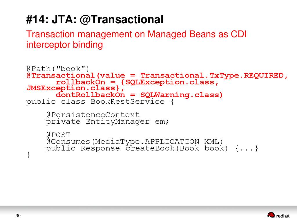 30 #14: JTA: @Transactional Transaction managem...
