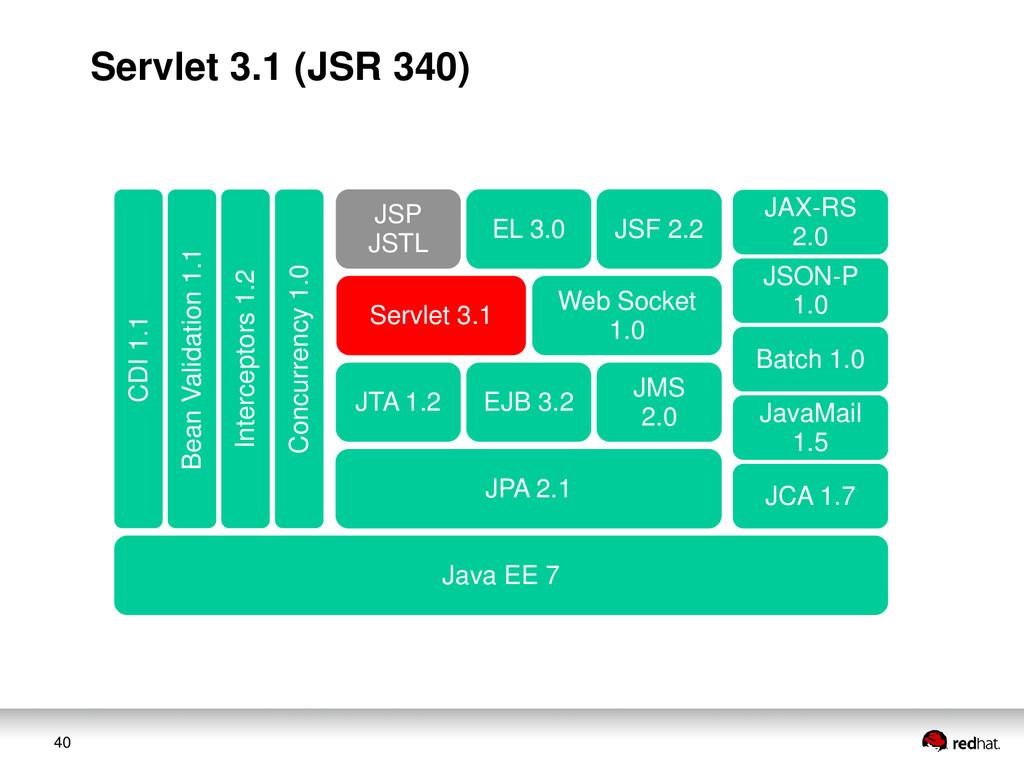40 JAX-RS 2.0 JSON-P 1.0 Web Socket 1.0 Servlet...