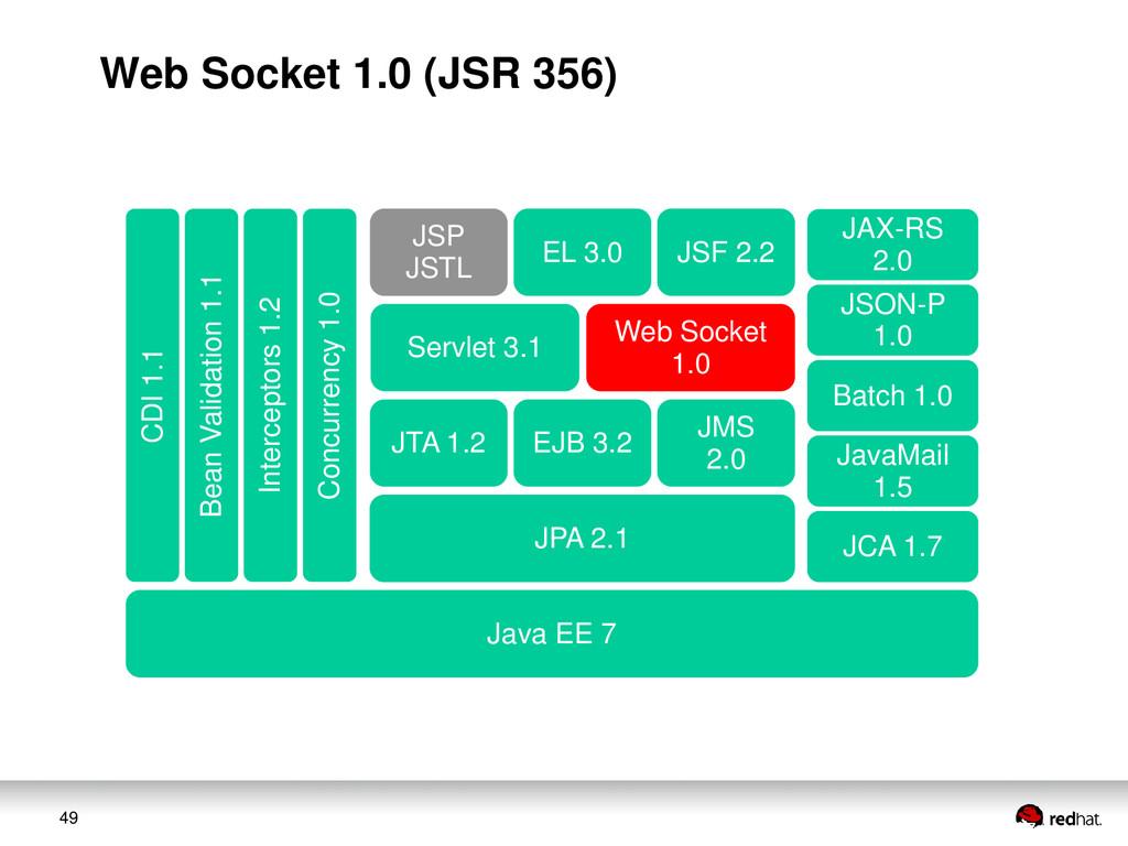 49 JAX-RS 2.0 JSON-P 1.0 Web Socket 1.0 Servlet...
