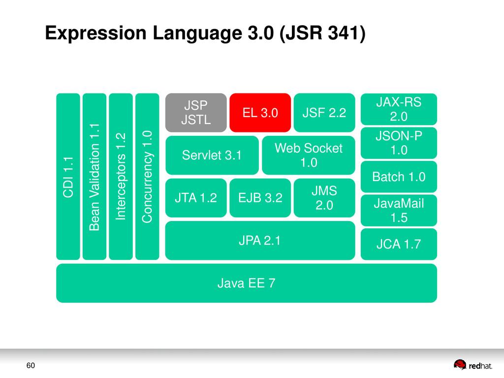 60 JAX-RS 2.0 JSON-P 1.0 Web Socket 1.0 Servlet...
