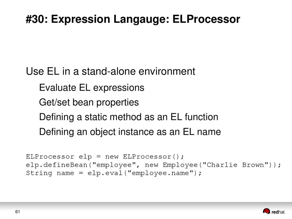 61 #30: Expression Langauge: ELProcessor Use EL...