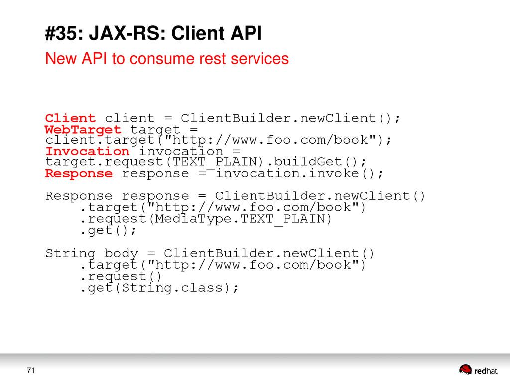 71 #35: JAX-RS: Client API New API to consume r...