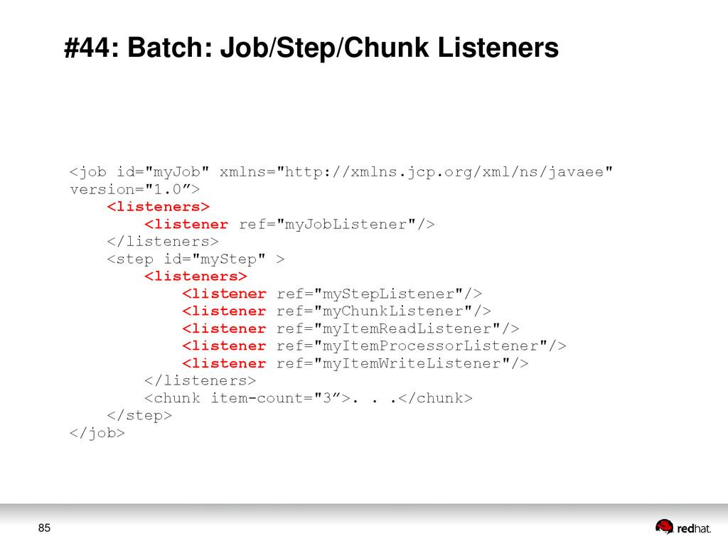 85 #44: Batch: Job/Step/Chunk Listeners <job id...