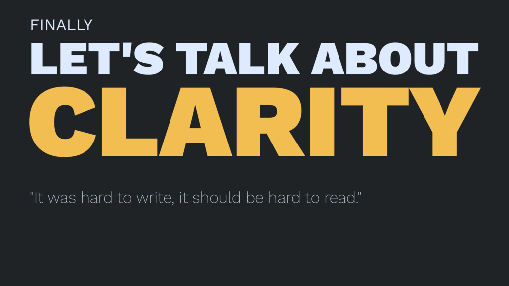 "FINALLY LET'S TALK ABOUT CLARITY ""It was hard t..."