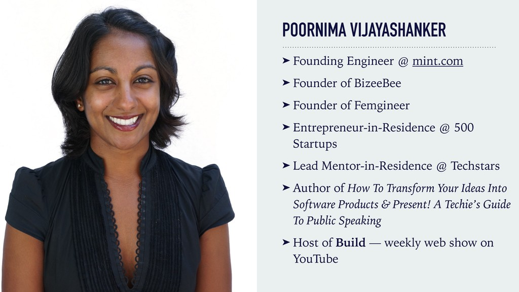 POORNIMA VIJAYASHANKER ➤ Founding Engineer @ mi...
